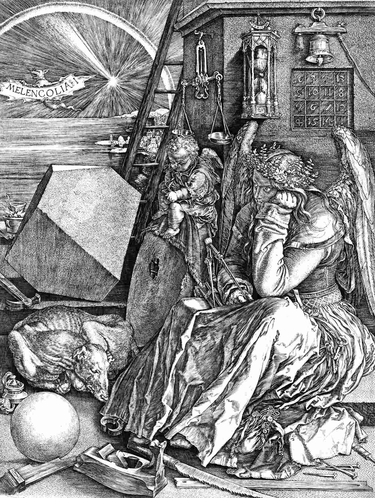 """Gravura """"Mellancolia"""", de Albrecht Dürer"""