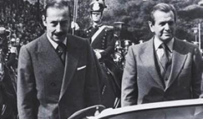 """Anos 1970: o ditador Jorge Videla e o presidente da Sociedade Rural Argentina, Jorge Zorreguieta inauguram exposição de gado do parque """"cedido"""" à entidade"""