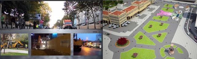 (esquerda) Imagem do video Taksin Square, de Mapping the Commons; (direita) projeto do shopping em Taksim