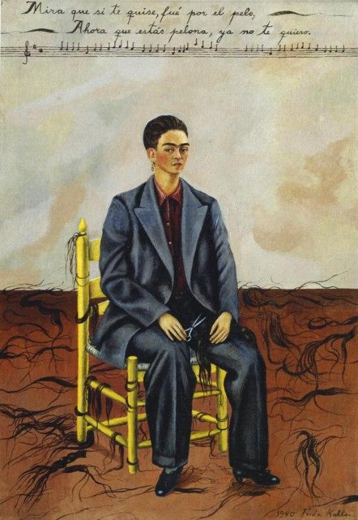 Frida Kahlo, auto-retrato com o cabelo curto, 1940.