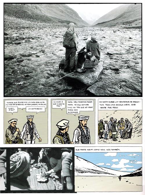 """Página de """"O fotógrafo"""", de Didier Lefèvre, Emmanuel Guibert e Frédéric Lemercier."""