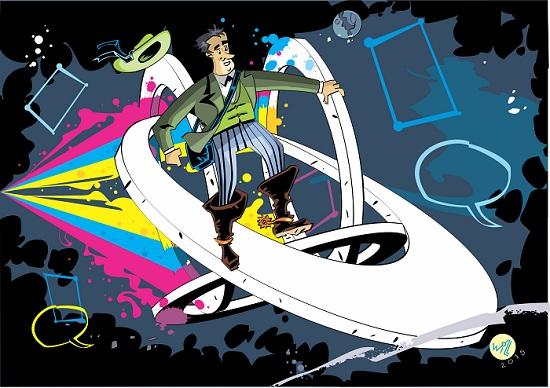 Ilustração de Will para divulgação das Terceiras Jornadas Internacionais de Quadrinhos da USP (2015).