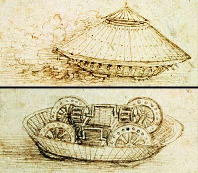 Esboços de Leonardo da Vinci para uma máquina de guerra que, séculos mais tarde, inspiraria a invenção do tanque