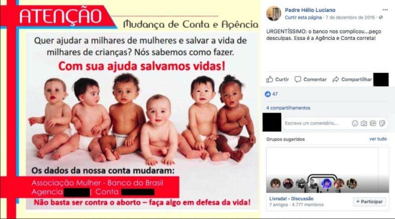 O padre Hélio Luciano utiliza o Facebook para pedir doações